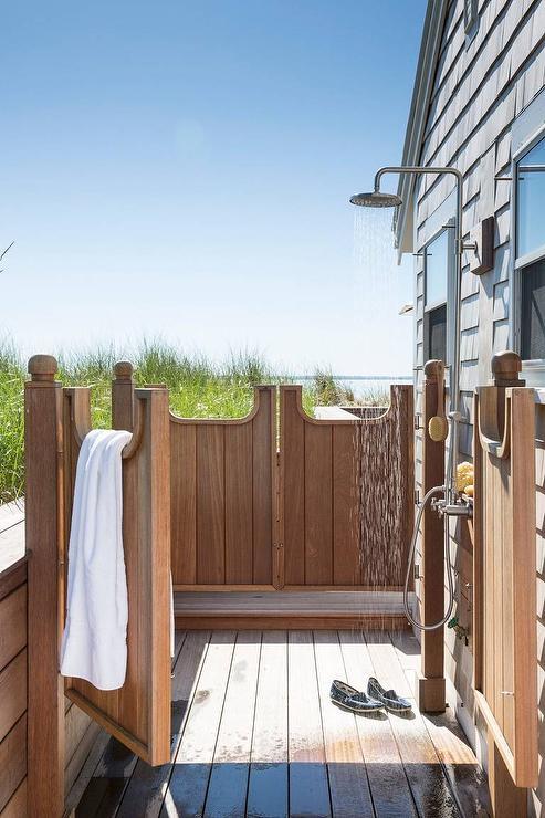 Teak Outdoor Shower with Swinging Privacy Doors