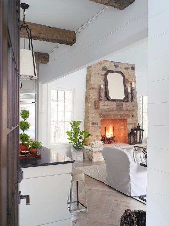 Rustic Fireplace Mantle on Stone Fireplace  Transitional  Living Room