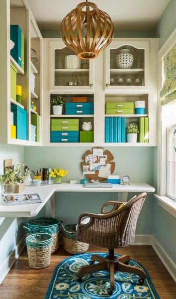 green home office Green and Blue Office with L Shaped Desk - Transitional - Den/library/office