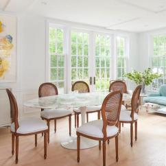 Cane Back Dining Room Chairs Potato Chip Chair Eames Oval Marble Table With Round Transitional