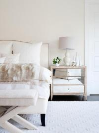 Ivory Tufted Headboard with Brass and Glass Nightstands ...