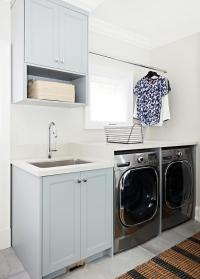 Green Gray Laundry Cabinets - Transitional - Laundry Room