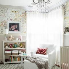 White Slipcovered Chair And A Half Ikea Egg Girl Nursery With Kandy Brit Pop Wallpaper - Transitional
