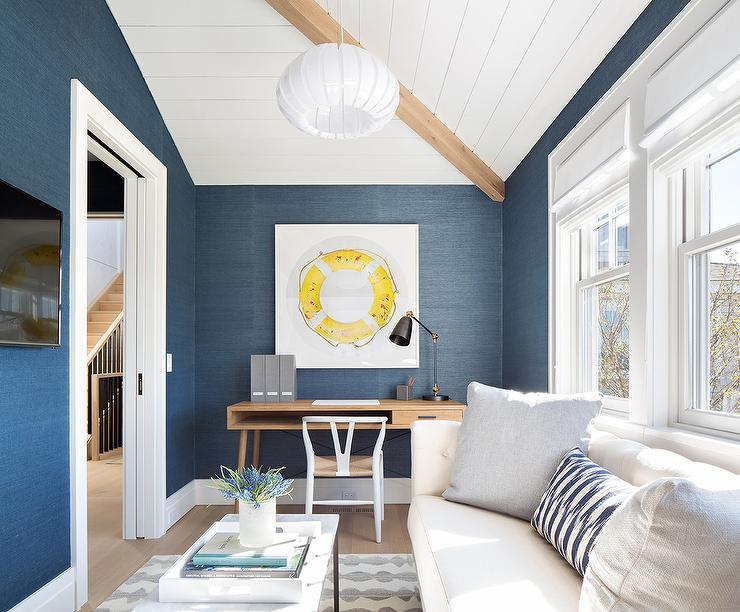 White and Blue Home Office with White Sofa  Contemporary