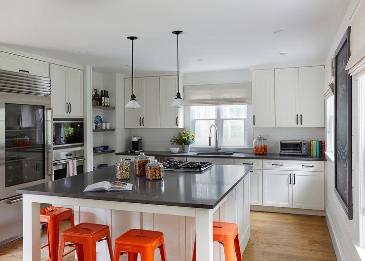 square kitchen island aid bowl white with orange tolix stools cottage