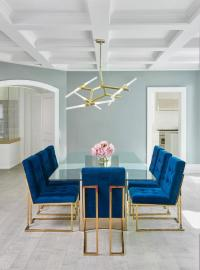 Sapphire Blue Velvet Tufted Dining Chairs - Contemporary ...