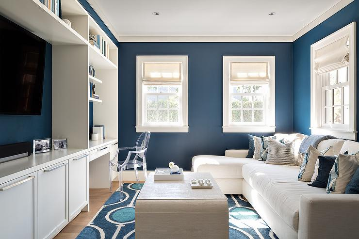 White and Blue TV Room and Work Space  Contemporary