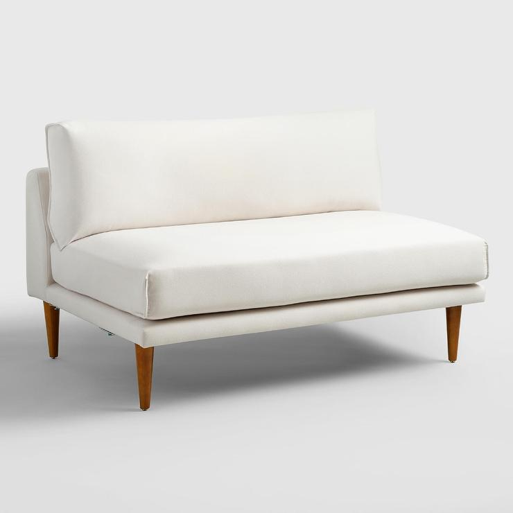 White 2Piece Armless Sectional Sofa