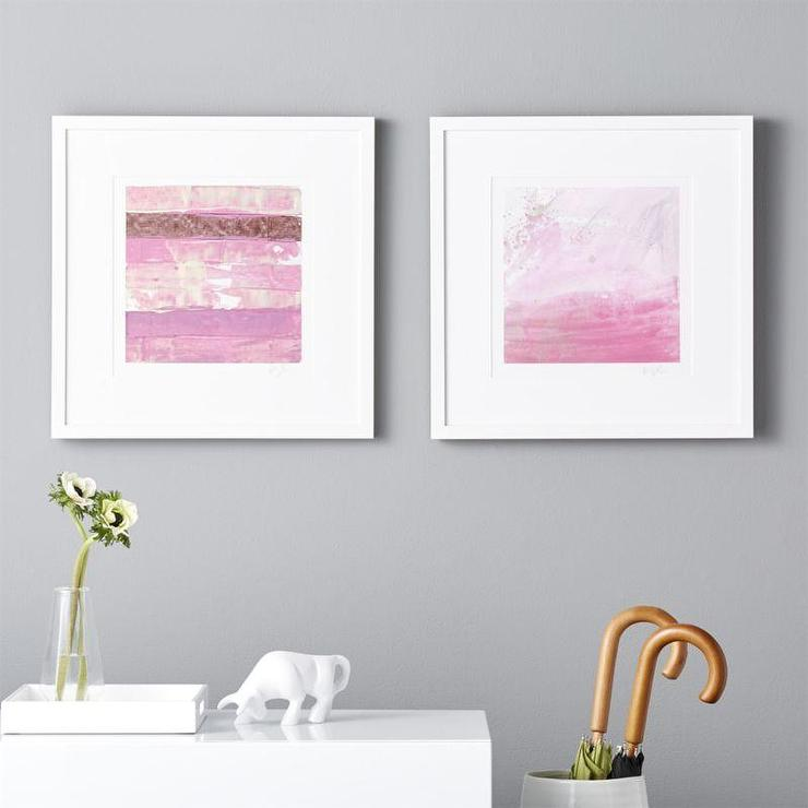 two piece pink painting stripes wall art