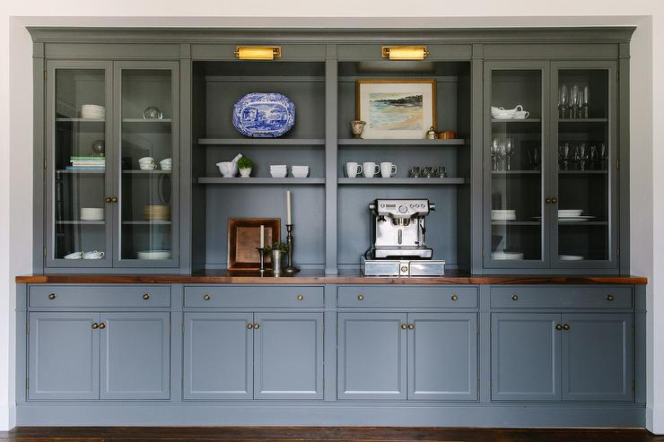 Dark Gray Built In Dining Room Built Ins with Brass