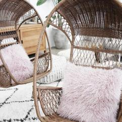 Patio Hanging Egg Chair Wheel Vans Rattan Chairs With Pink Shag Pillows - Transitional Deck/patio