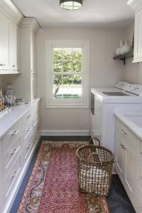 Traditional Galley Style Laundry Room and Bar ...