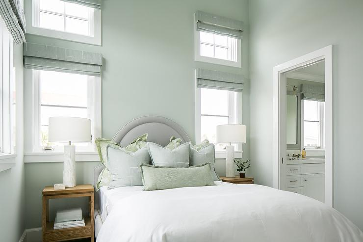 Gray Arch Headboard with Blue and Green Shams  Cottage
