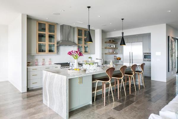 modern waterfall kitchen island countertop Gray Quartzite Waterfall Countertop - Contemporary - Kitchen
