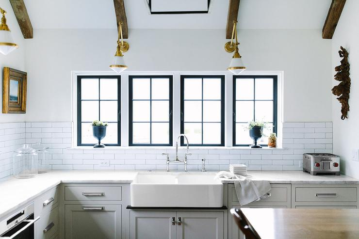 kitchen faucet wall mount new countertops dual farmhouse sink with glass and brass swing arm ...