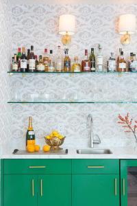 Living Room with Bar Shelves - Transitional - Living Room