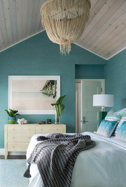 Blue Beach Bedroom with Cream Fringe Chandelier  Transitional  Bedroom