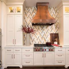 Black And White Tile Kitchen Backsplash Outdoor Grills With Marble Chevron - Transitional ...