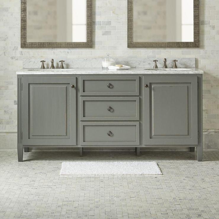 Clinton Wood Marble Double Vanity