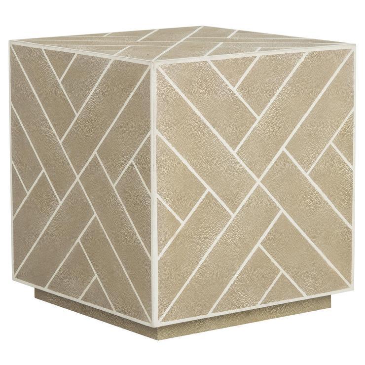 emil beige shagreen cube end table