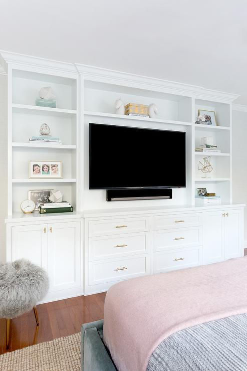 Bed Facing Built In TV Unit  Transitional  Bedroom