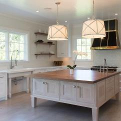 Square Kitchen Island Faucet Replacement Parts With White Pleated Drum Pendant Lights