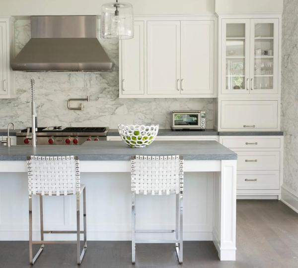white kitchen with grey granite Honed Gray Granite Countertops - Transitional - Kitchen