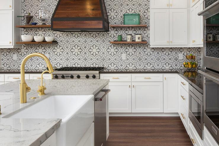 cement tile kitchen cabinets makeover blue and gray quatrefoil tiles transitional