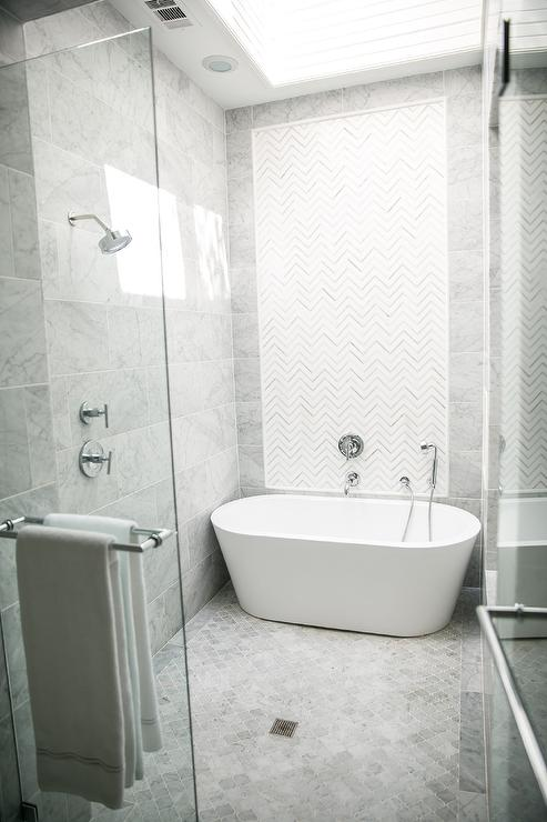 White and Gray Marble Chevron Inset Shower Tiles
