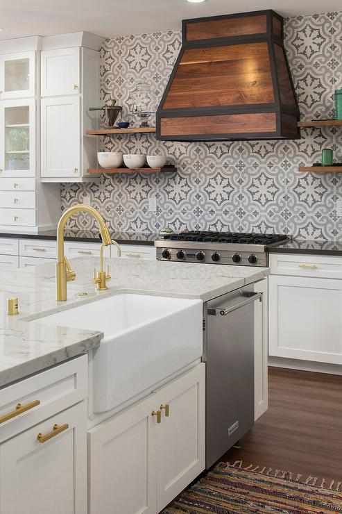 floating kitchen cabinets hanging towel blue and gray cement tile backsplash ...