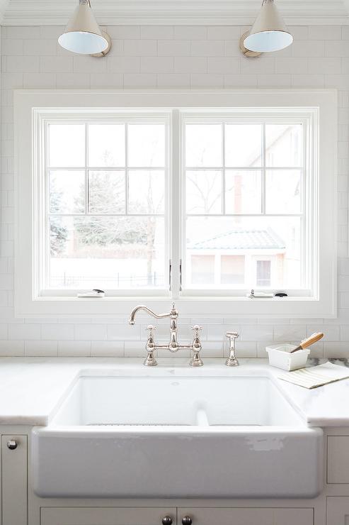 antique kitchen faucet wall tile wide farm sink - cottage