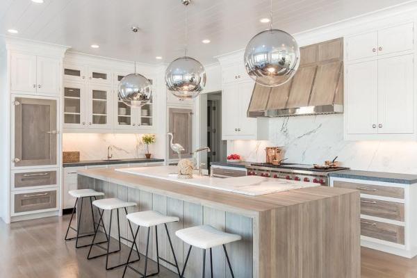 modern waterfall kitchen island countertop Matte Walnut Waterfall Kitchen Island Countertop - Contemporary - Kitchen