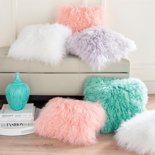 Mongolian Sheep Fur Throw Pillows