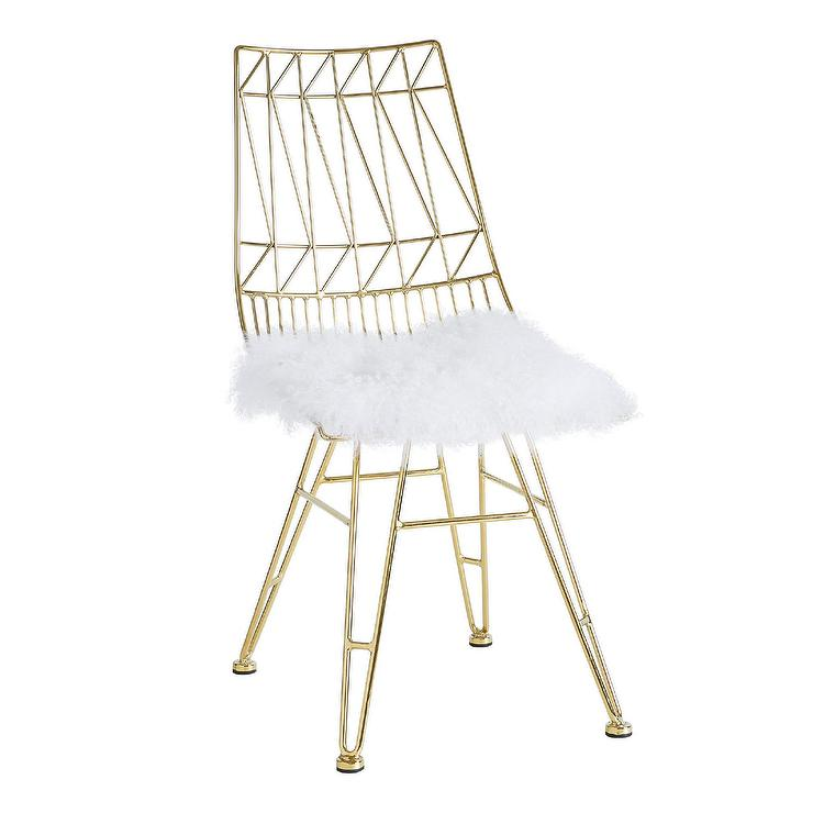 steel chair gold stair lift chairs allure white sheepskin seat