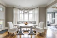 Oval Pedestal Dining Table in Bay Window - Transitional ...