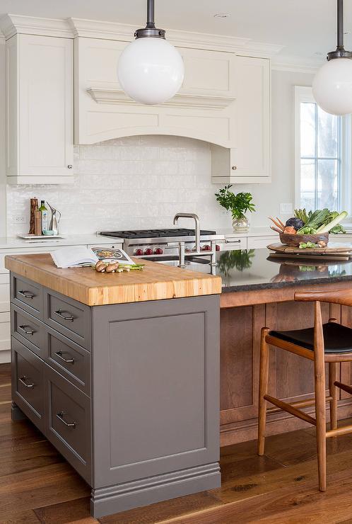 kitchen prep station wood flooring in butcher block island transitional