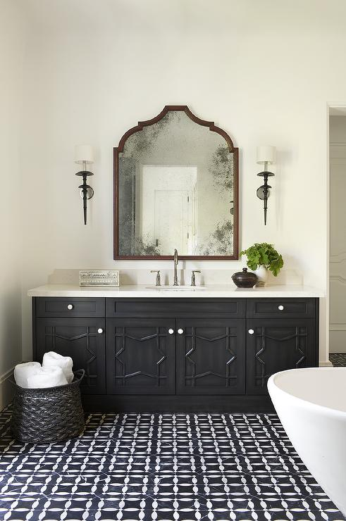 Black Moroccan Star Washstand with Black and White Mosaic Tiles  Mediterranean  Bathroom