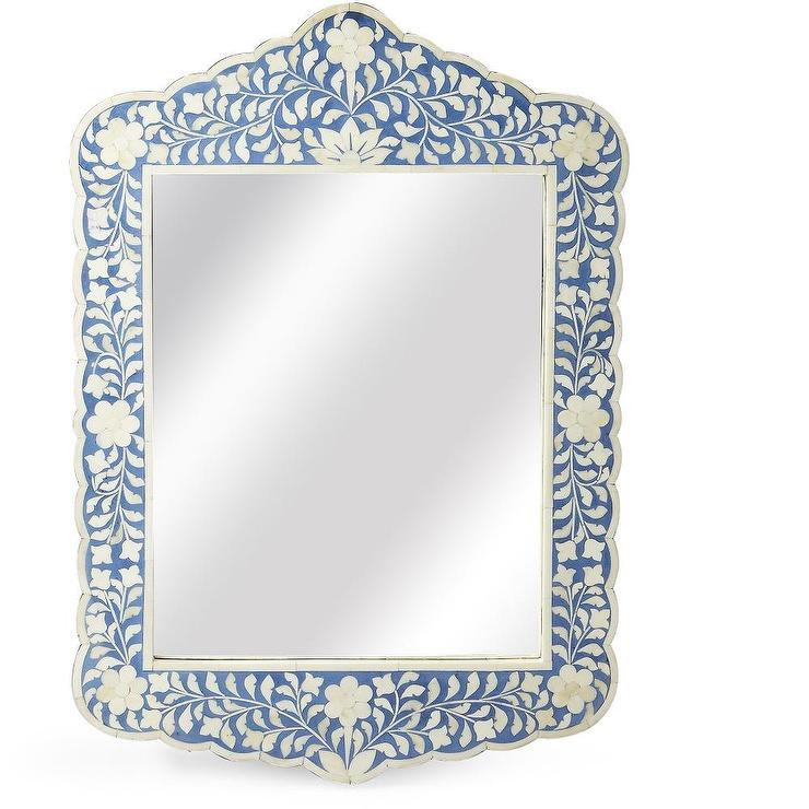 vanity with chair and mirror cigar leather blue floral bone inlay