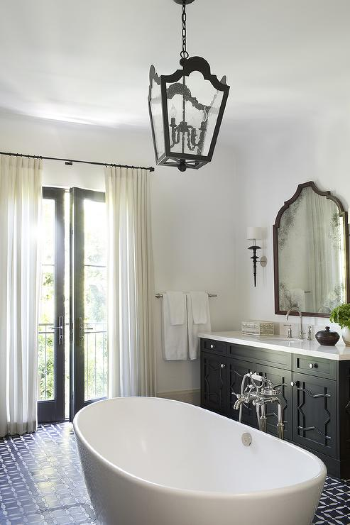 Moroccan Style Bathroom with Center of The Room Bathtub  Mediterranean  Bathroom
