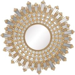 Accent Mirrors Living Room Maple Furniture Gold Sunburst Wall Mirror