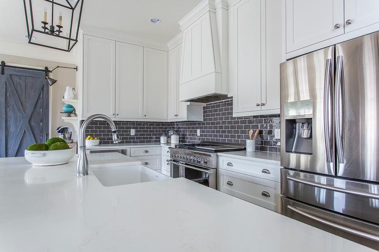 Dark Gray Brick Kitchen Backsplash Tiles  Transitional  Kitchen