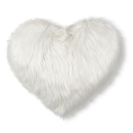 Valentines Heart Oversized White Faux Fur Throw Pillow