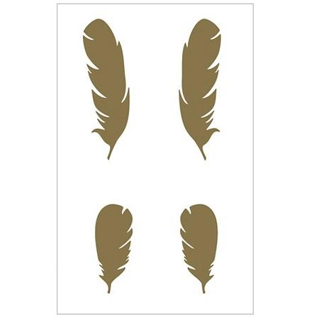 Gold Metallic Feathers Wall Decals