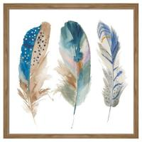 Framed Watercolor Feathers Wall Art
