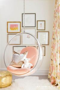 Girls Room with White Hanging Chairs - Contemporary - Girl ...