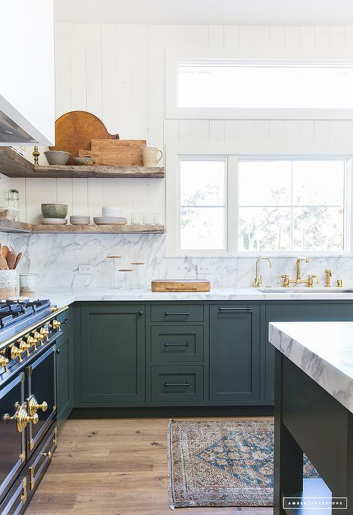 green kitchen cabinets grey backsplash hunter design ideas features a peacock blue runner place in front of topped with gray and white marble countertop fitted
