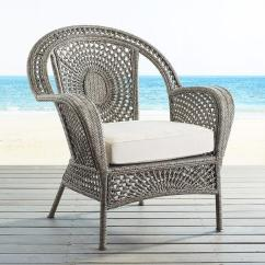 Outdoor Patio Chair Espresso Leather Gray Andalusia Woven