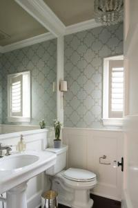 Silver and Blue Trellis Wallpaper with Wainscoting ...