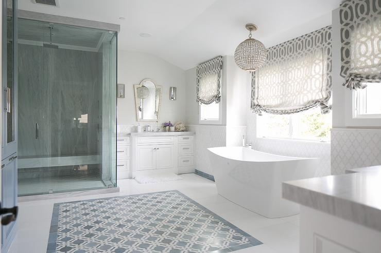 White Washstands with Black and White Arabesque Mirrors