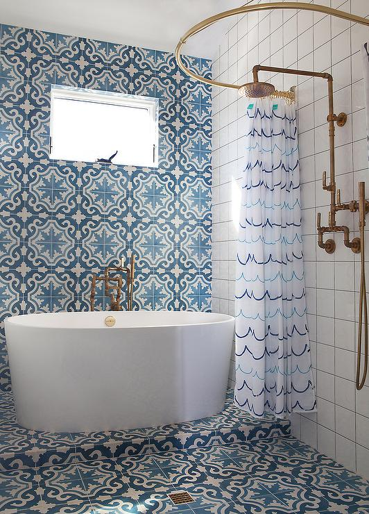 Blue Mosaic Cement Shower Tiles  Mediterranean  Bathroom